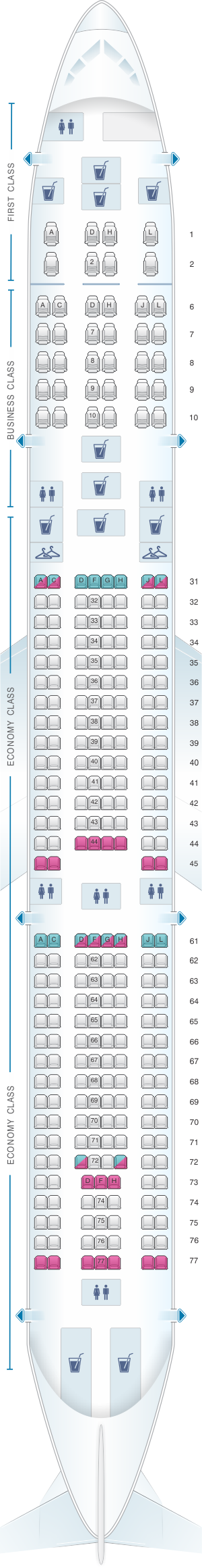 Seat map for China Eastern Airlines Airbus A340 300