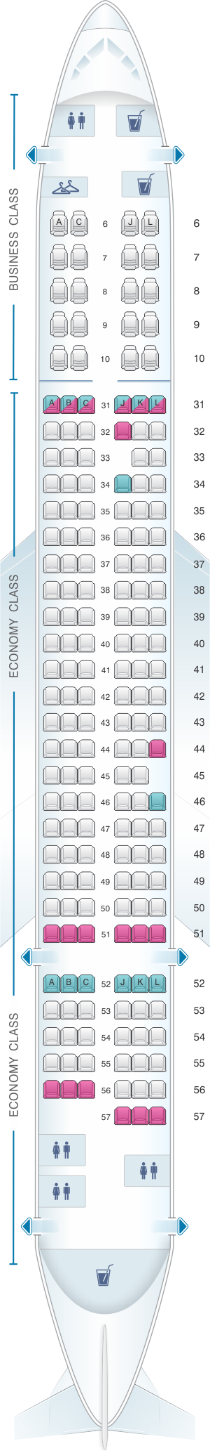 Seat Map China Eastern Airlines Airbus A321 200 SeatMaestro - Us Airways A321 Seat Map