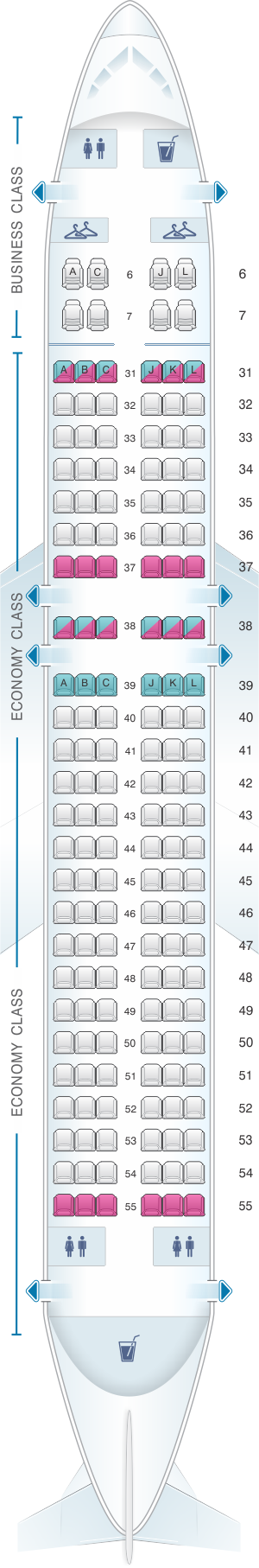 Seat map for China Eastern Airlines Airbus A320 200