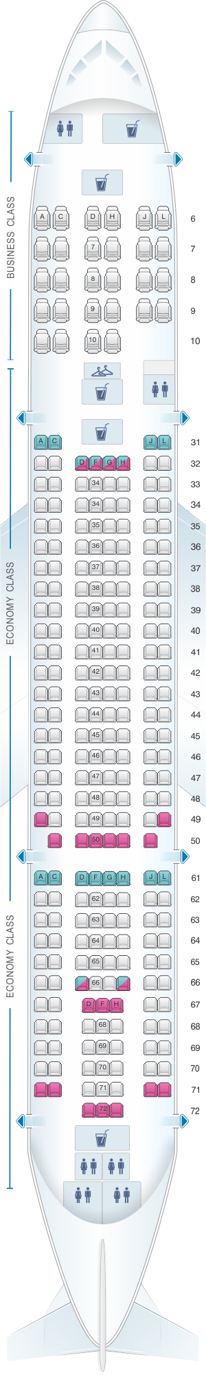 Seat map for China Eastern Airlines Airbus A300 600 config.2