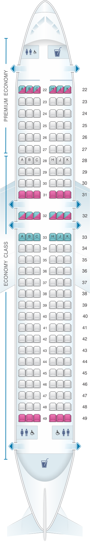 Seat map for Cathay Dragon Airbus A320 200 A32M