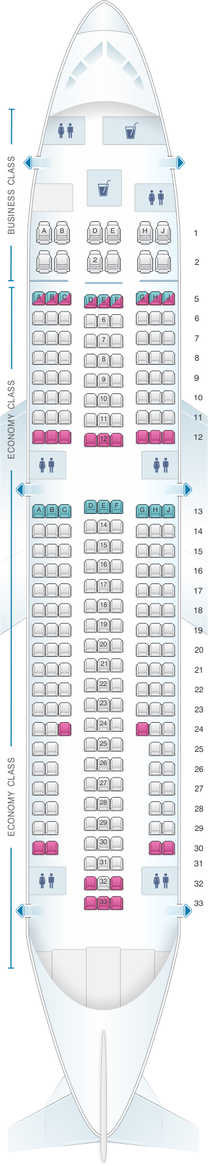 Seat map for White Airways Airbus A310