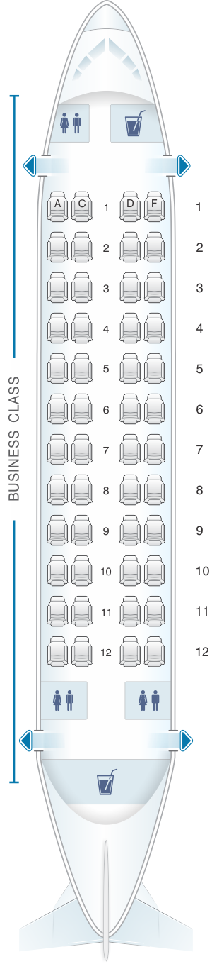 Seat map for White Airways Airbus A319 CS TFU day configuration