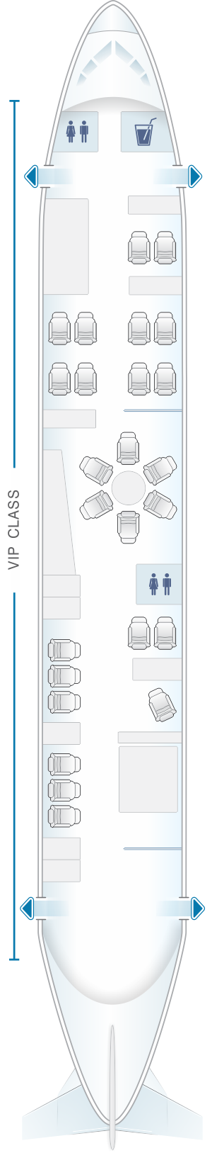 Seat map for White Airways Airbus A319 CS TQJ day configuration