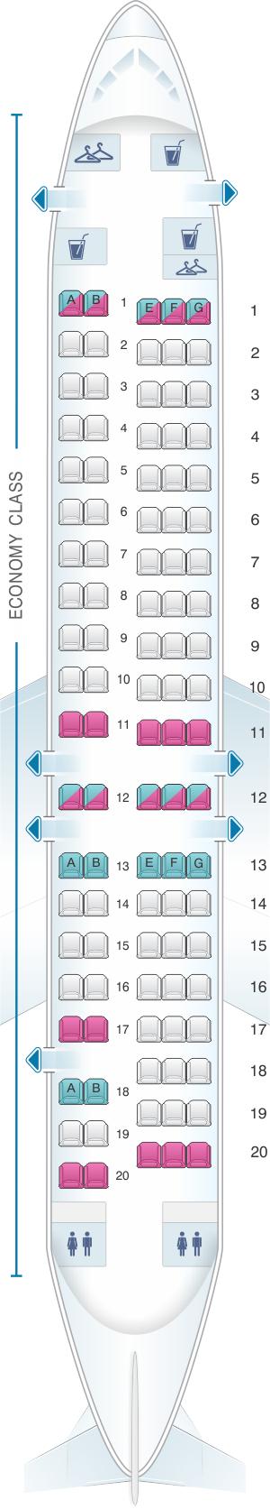 Seat map for Virgin Australia Fokker 100