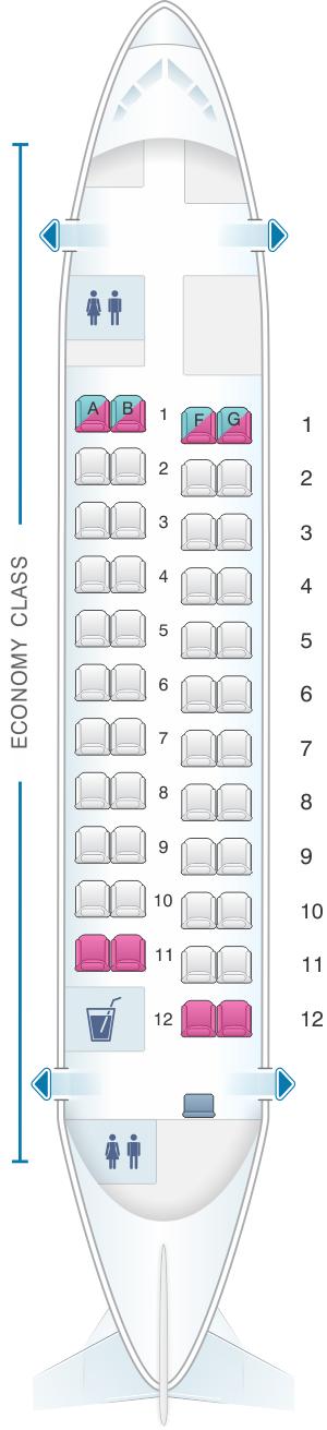 Seat map for Virgin Australia Fokker 50