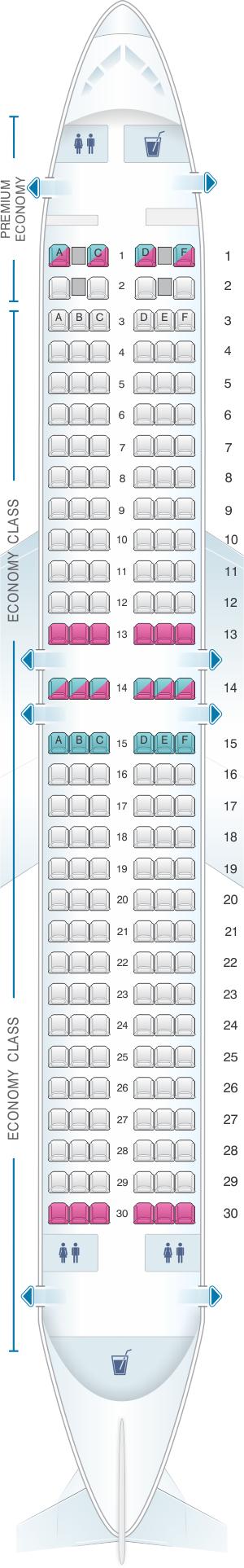 Seat map for Virgin Australia Boeing B737 800 Premium Economy