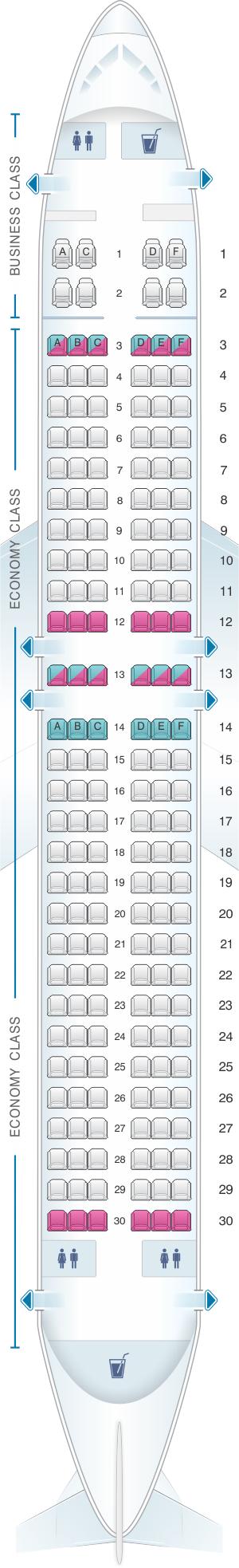 Seat map for Virgin Australia Boeing B737 800