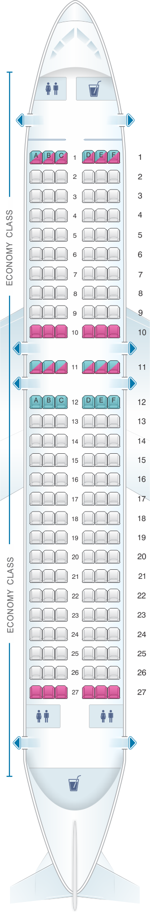 Seat map for Virgin Australia Airbus A320