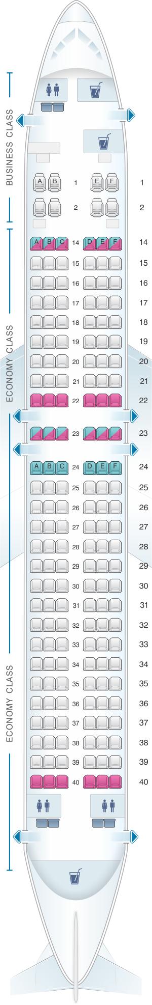 Seat map for Fiji Airways Boeing B737 800 170pax