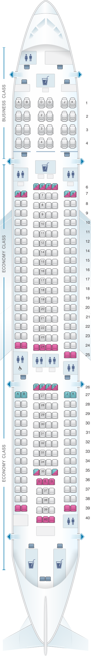 Seat map for Fiji Airways Airbus A330 200