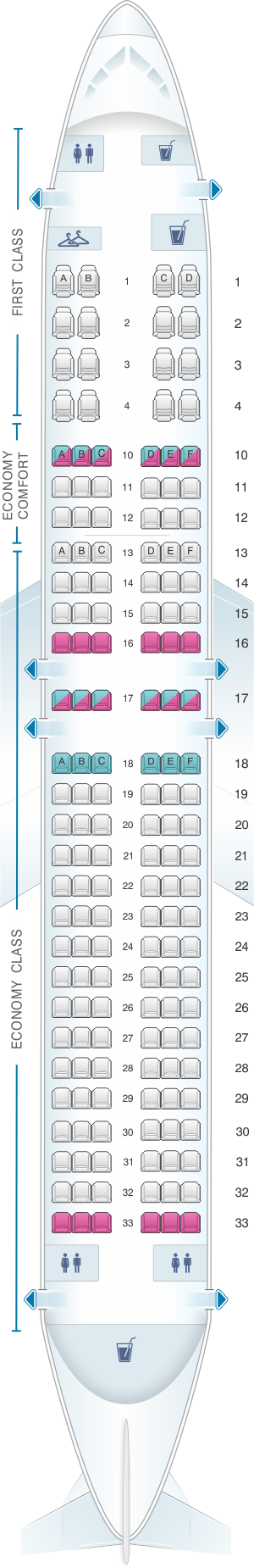 Seat map for Delta Airlines Boeing B737 800 (738)