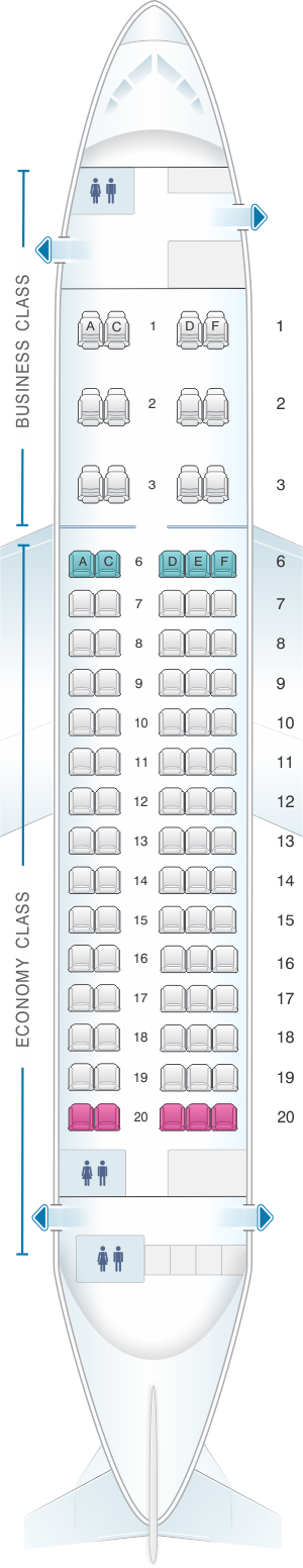 Seat map for Aeroflot Russian Airlines Sukhoi Superjet 100-95B
