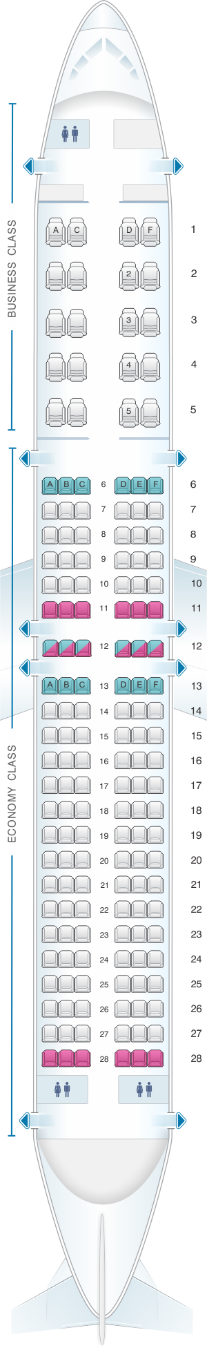 Seat map for Aeroflot Russian Airlines Boeing B737 800