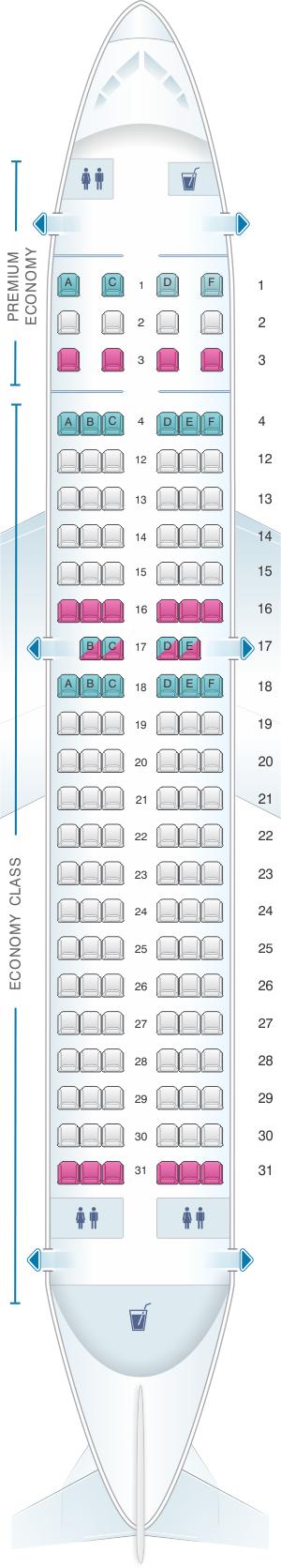 Seat Map Air Canada Airbus A319 100 Config.3 | SeatMaestro.com