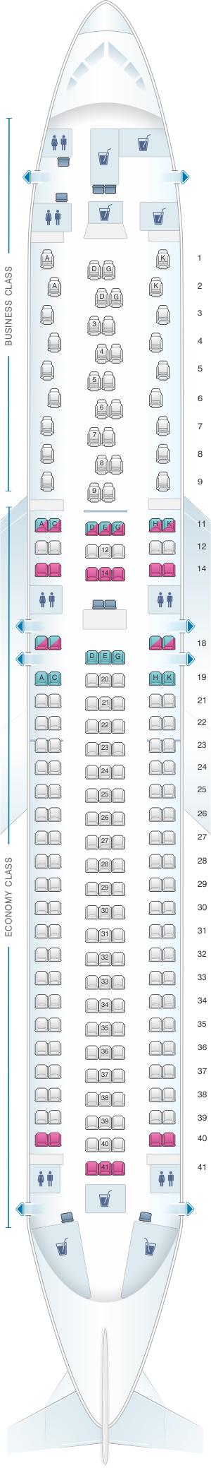 Seat map for Austrian Airlines Boeing B767 300 ER V1