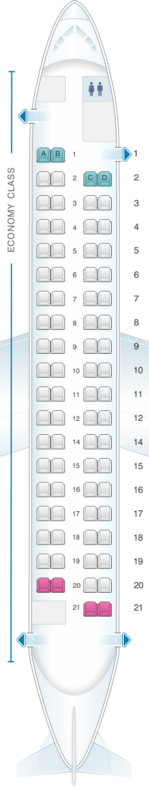 Seat map for airBaltic Bombardier Q400