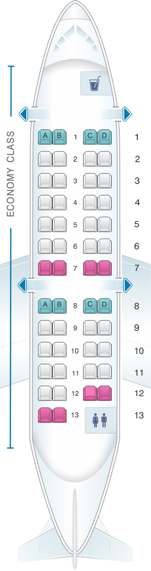 Seat map for Delta Air Lines Bombardier CRJ 100/200 (Endeavor/SkyWest)