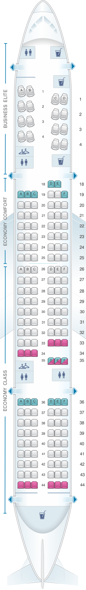 Seat map for Delta Air Lines Boeing B757 200 (75S)