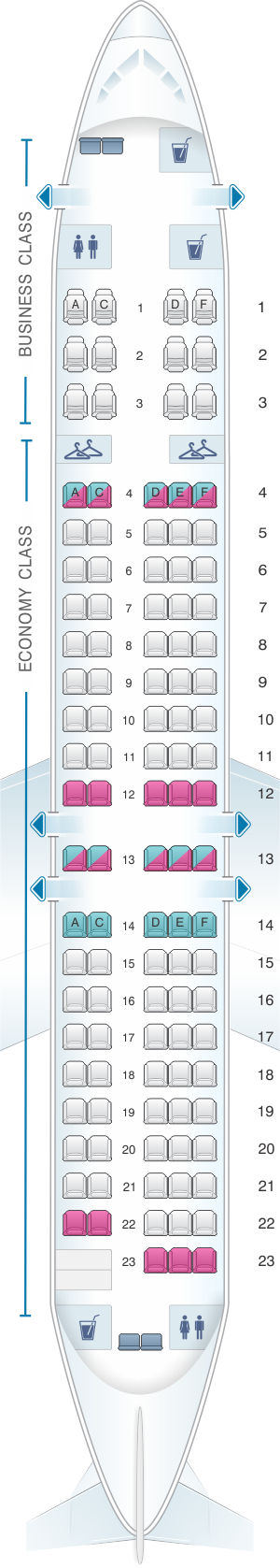 Seat map for QantasLink Boeing B717 200 110PAX