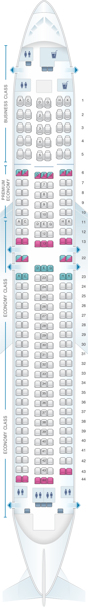 Seat map for Condor Boeing B767 300ER version3