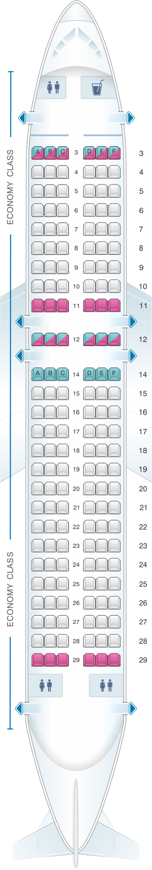 Seat map for Allegiant Air Airbus A319