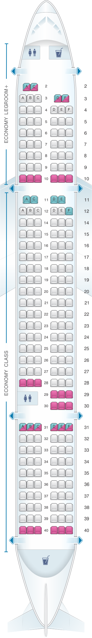 Seat map for Allegiant Air Boeing B757 200