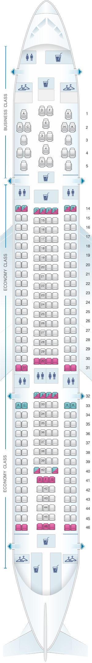 Seat map for Brussels Airlines Airbus A330 200
