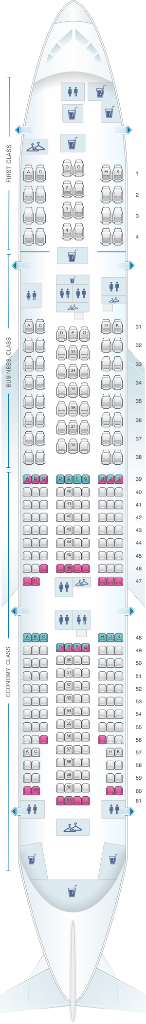 Seat map for China Southern Airlines Boeing B777B