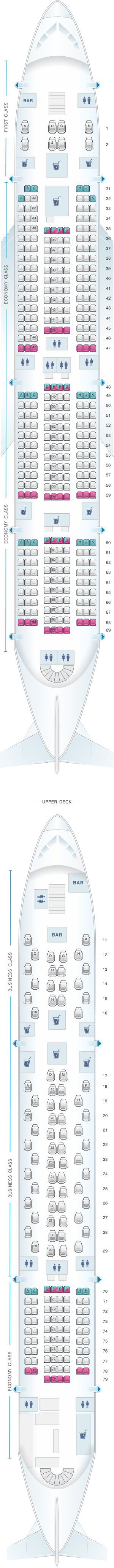 Seat map for China Southern Airlines Airbus A380