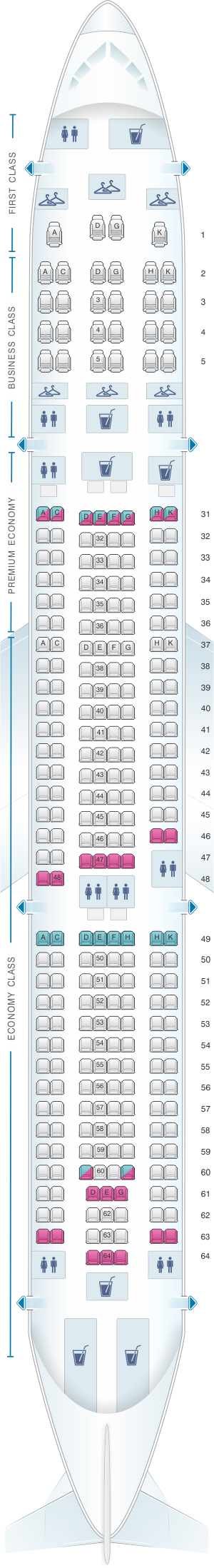Seat map for China Southern Airlines Airbus A330-300 Layout A