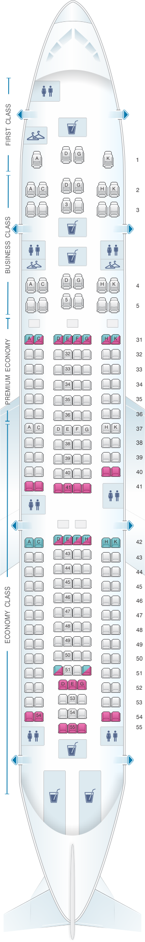 Seat map for China Southern Airlines Airbus A330-200 Layout B