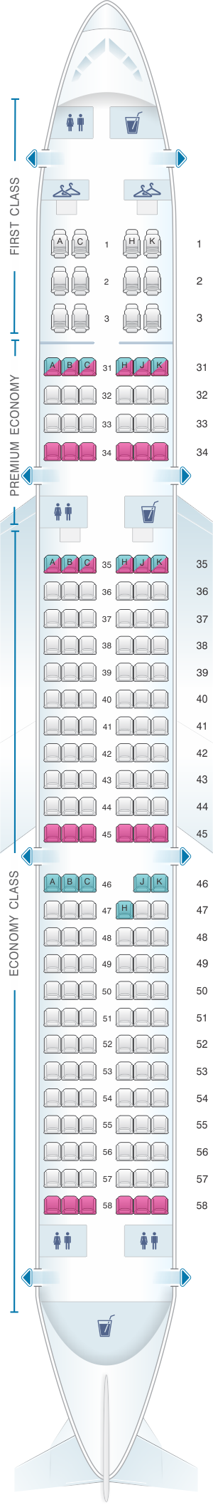 Seat map for China Southern Airlines Airbus A321