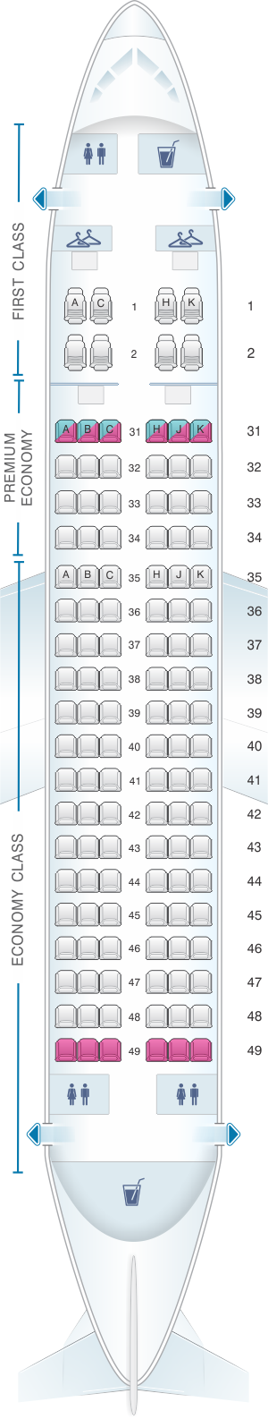 Seat map for China Southern Airlines Airbus A319