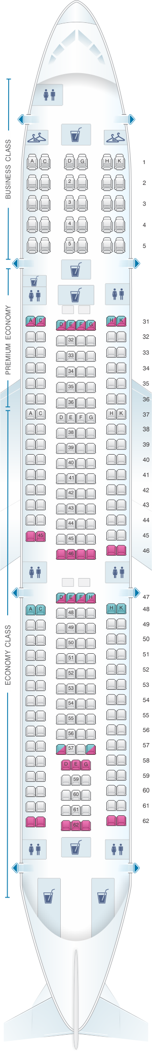Seat map for China Southern Airlines Airbus A33A