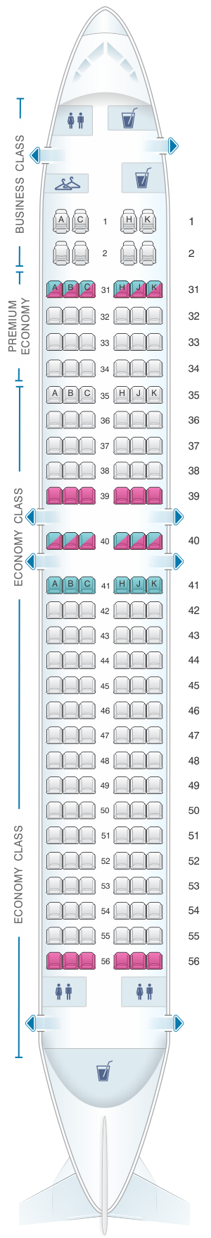 Seat map for China Southern Airlines Boeing B737 800 Layout A