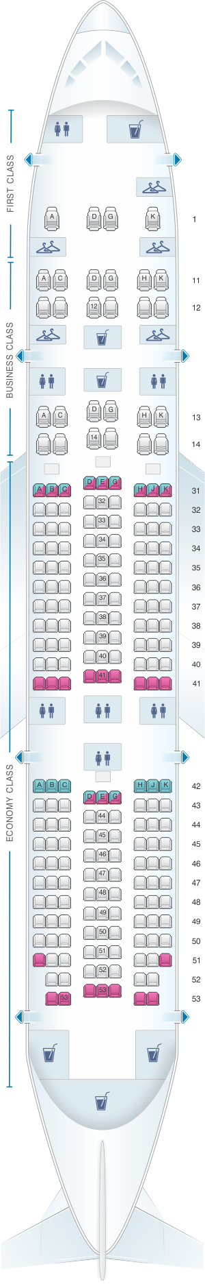 Seat map for China Southern Airlines Boeing B787 8