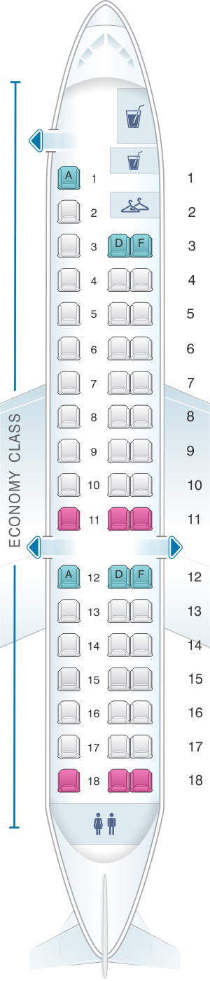 Seat map for China Southern Airlines Embraer RJ145