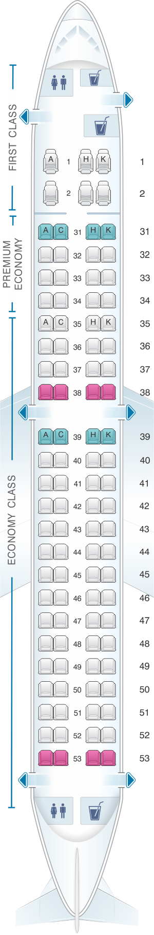 Seat map for China Southern Airlines Embraer RJ190