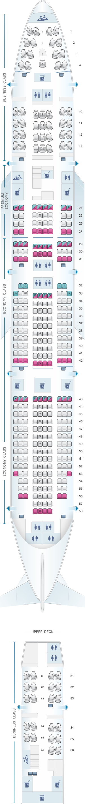 Seat map for Lufthansa Boeing B747 400 371pax