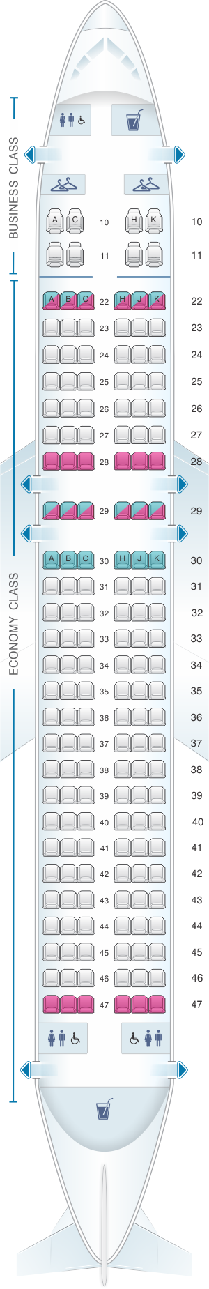 Seat map for Cathay Dragon Airbus A320 200 A32P