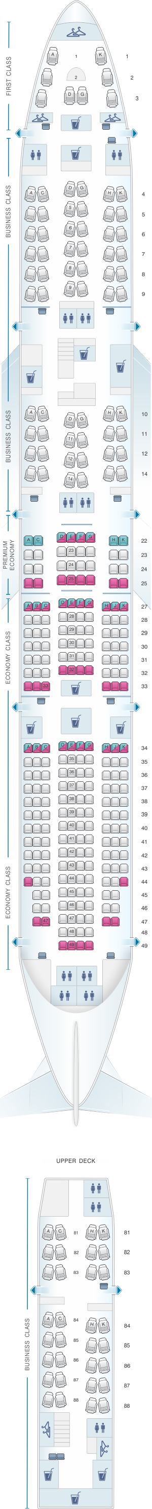 Seat map for Lufthansa Boeing B747-8 340pax