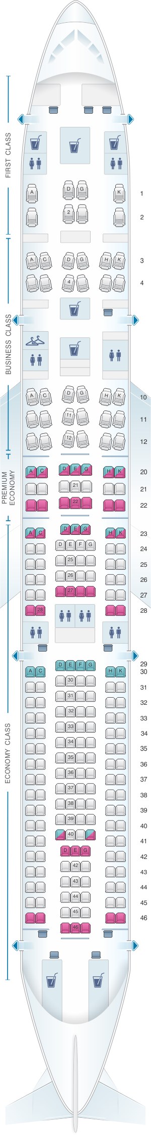 Seat map for Lufthansa Airbus A330 300 236pax