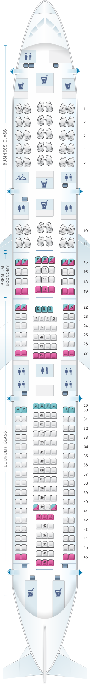 Seat map for Lufthansa Airbus A340 300 251pax
