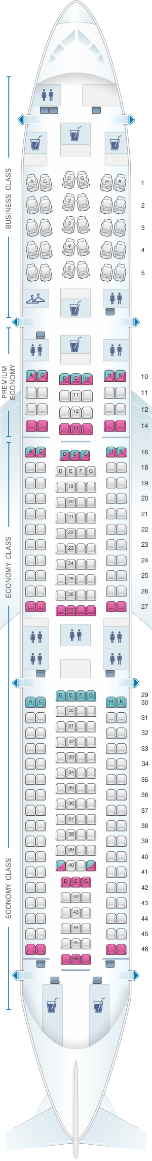 Seat Map For Lufthansa Airbus A340 300 279pax