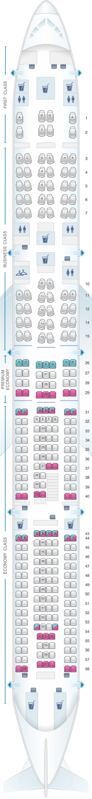 Seat map for Lufthansa Airbus A340 600 281pax