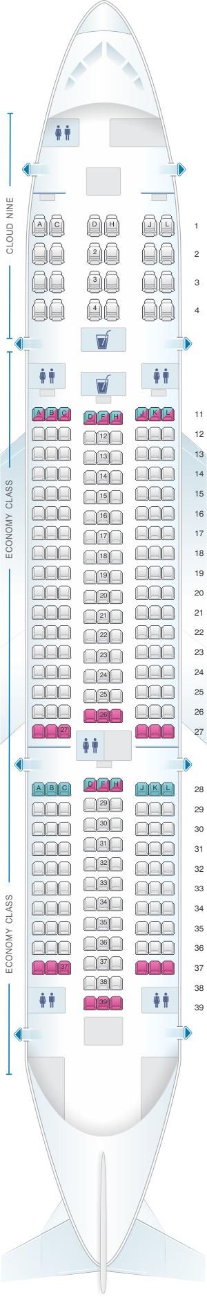 Seat map for Ethiopian Boeing B787 8