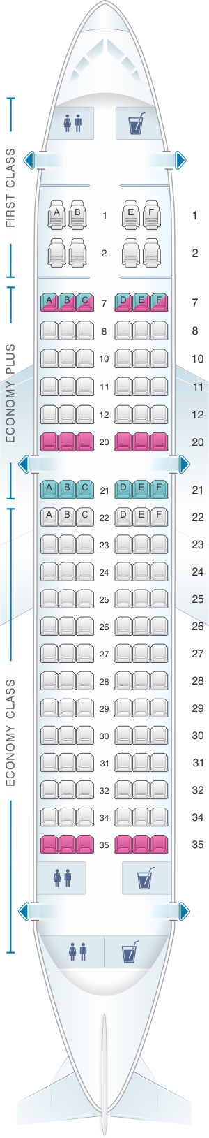 Seat map for United Airlines Airbus A319 - version 2