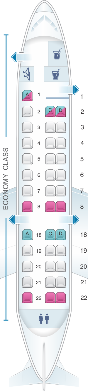 Seat map for United Airlines Embraer EMB 135