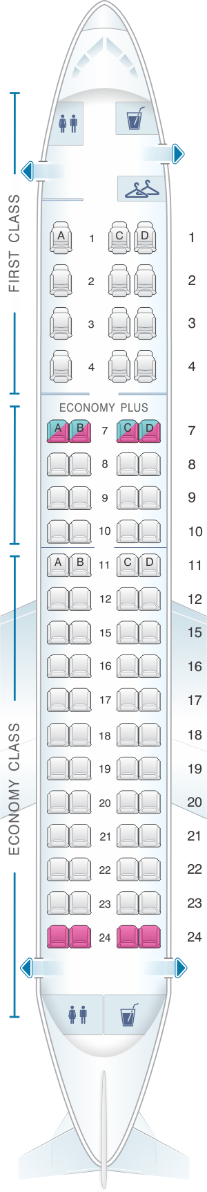 Seat map for United Airlines Embraer EMB 175
